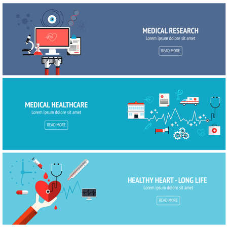 Flat designed banners for medical research, medical healthcare and helthy heart-long life. Vector Vector