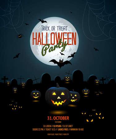 calabazas de halloween: Halloween de la plantilla del cartel la noche con calabaza y luna llena. Vector Vectores