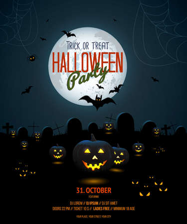 Halloween night poster template with pumpkin and full moon. Vector Illustration