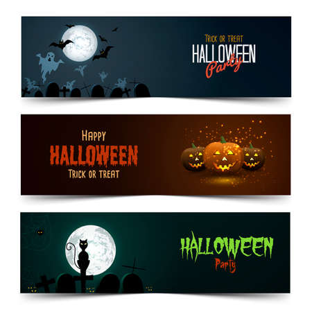 green banner: Happy Halloween banner set. Vector Illustration