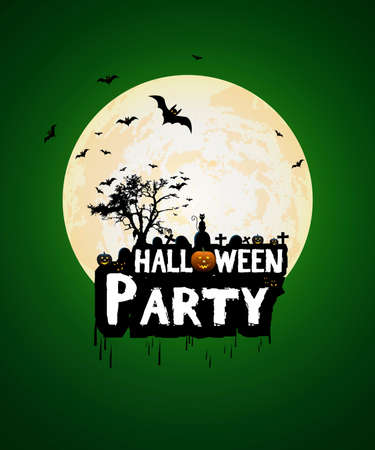 halloween poster: Halloween night poster template with pumpkin and full moon. Vector Illustration