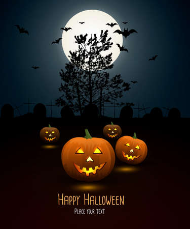 Halloween night background with pumpkin and full moon. Vector