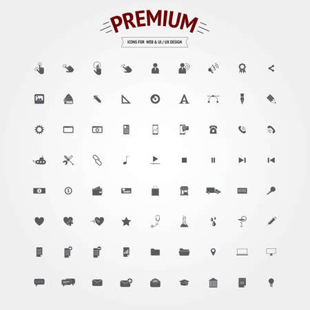 Set of bold icons for web and user interface design. Vector Vector