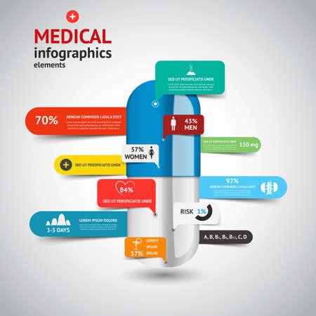 higado humano: Médico concepto Infografía elements.Design. Vector