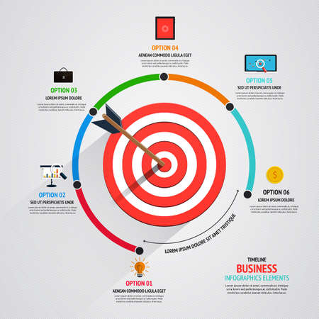 goals: Business target marketing concept. Infographics template. Vector