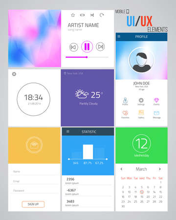 UIUX elements for web and mobile.Icons and buttons.Flat design. Vector Vector
