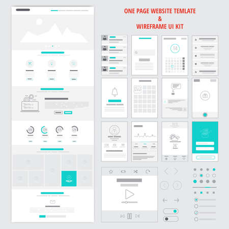 responsive web design: Fllat responsive one page website template and mobile app wireframe kit. Vector