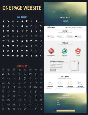 interface design: Website interface template- one page and bold and line icons set. Modern flat style. Vector