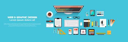 ウェブとグラフィック デザインのための設計概念のバナー。フラット スタイル。ベクトル  イラスト・ベクター素材