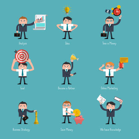 referral: Set of Flat Style Icons for Business Design, finance, marketing and e-commerce.