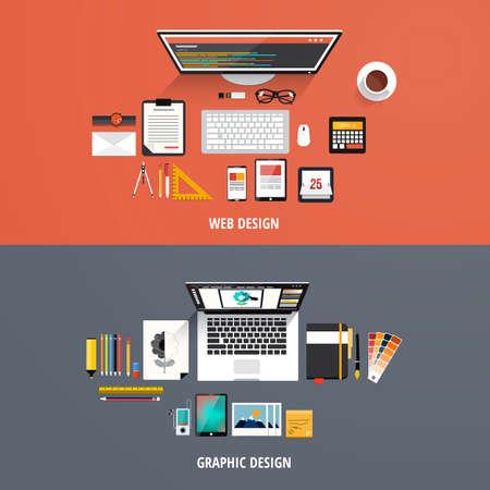 bureau design: concepts de design des ic�nes pour la conception graphique et web design. Le style plat.
