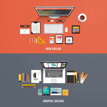 Design concepts Icons for graphic design and web design. Flat style. Çizim