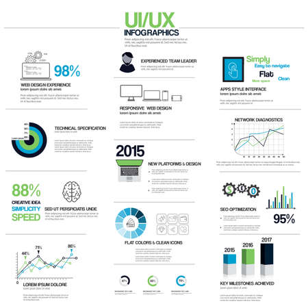 Flat UIUX  infographic elements.Print, web design, mobile design, annual reports, graphs and bars.