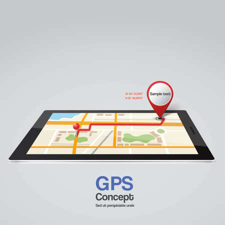 Mobile phone with pointer on screen, GPS concept. Vector Illustration