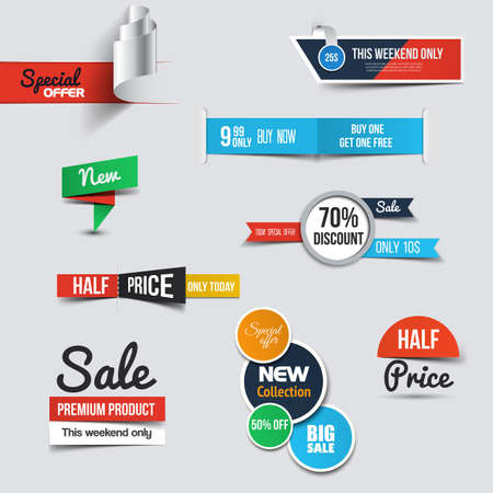 stickers: Collection of Sale Discount Styled origami Banners. Vector
