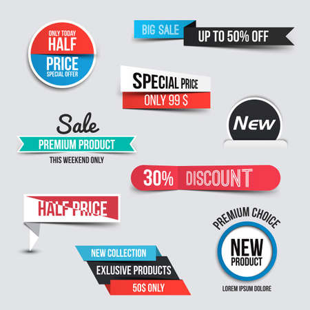 promotions: Collection of Sale Discount Styled origami Banners Illustration