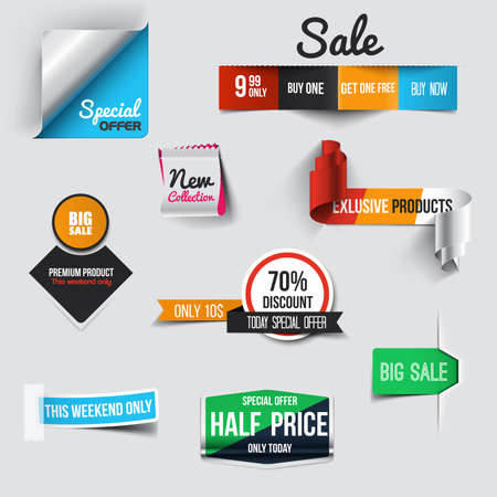 price tag: Collection of Sale Discount Styled origami Banners Illustration