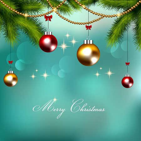 モミの小枝とボールの装飾クリスマスの背景  イラスト・ベクター素材
