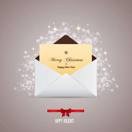Envelope and greeting card merry christmas Vector