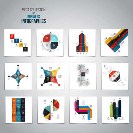 origami numbers: Mega Collection of  Infographics objects . A lot of different templates ready to display your data. Vector Illustration