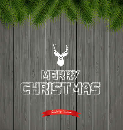 Christmas greeting card - holidays lettering on a grey wooden texture background Vector