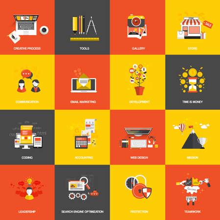 一連のフラットなデザイン コンセプト アイコンのウェブサイトの開発、創造的なプロセス、ストア、seo、ギャラリー、ツール、時間はお金、チーム