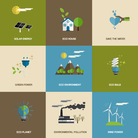 solar symbol: Set of flat designed ecology icons.Vector