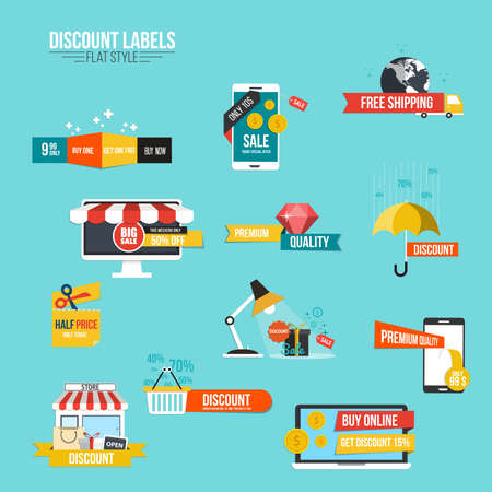 discount buttons: Collection of Sale Discount Styled  Banners.Flat style. Vector