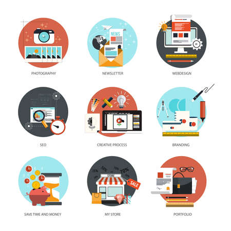 Set of flat and colorful concepts icons of  photography, newsletter,webdesign, marketing, branding, online shoping and SEO theme and time is money . Design elements for web and mobile applications. Vector