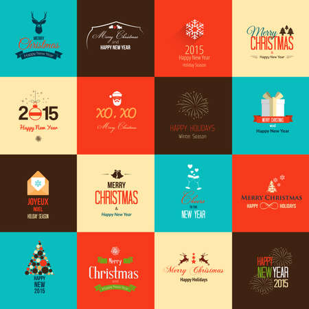 Set of flat icons for Christmas and New Year greeting cards. Vector Vector
