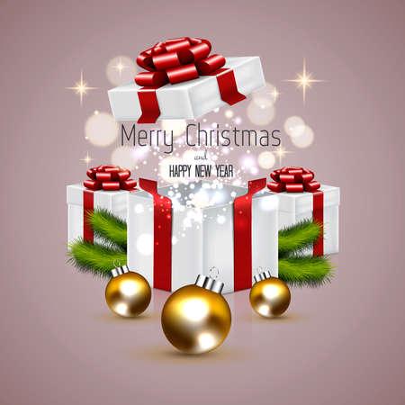 전나무 나뭇 가지와 선물 상자 크리스마스 배경입니다. 벡터
