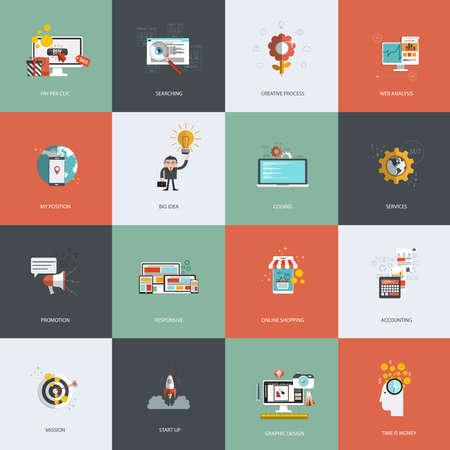 mision: Conjunto de iconos del concepto de dise�o de planos de pago por clic, proceso creativo, la b�squeda, an�lisis web, mi posici�n, la promoci�n, el tiempo es dinero, servicios, misi�n, compras en l�nea y la contabilidad. Vector
