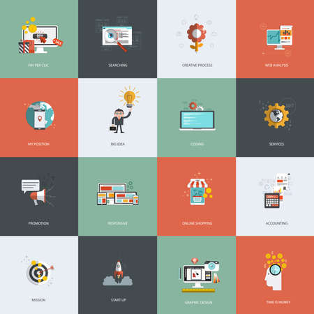 clic: Set of flat design concept icons for pay per clic, creative process, searching, web analysis, my position, promotion , time is money, services, mission, online shopping and accounting. Vector