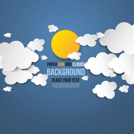 3d paper art: Abstract background- white paper clouds & sun. Vector