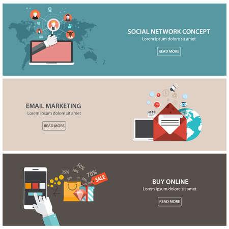 correo electronico: Banderas planas dise�adas para el marketing de correo electr�nico, red social concepto y compras online. Vector