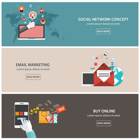 Flat designed banners for email marketing, social network concept  and buy online. Vector Çizim