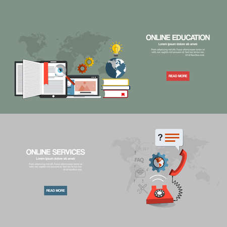 Flat designed banners for online education and online services. Vector