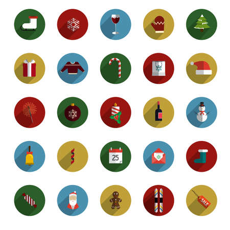 Set of Modern Christmas Flat Style Icons with Long Shadows. Vector Vector