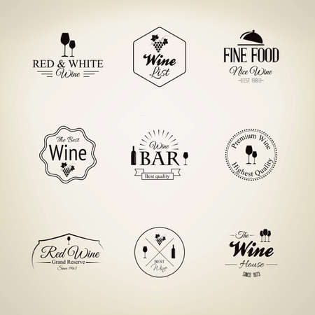 vector set: Wine labels set. Vector