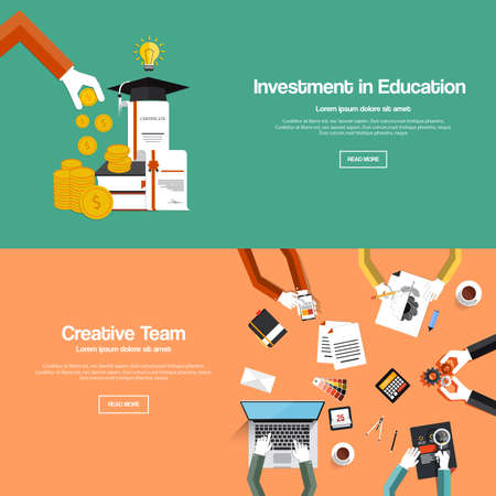 Flat designed banners for investment in education and creative team. Vector Vector