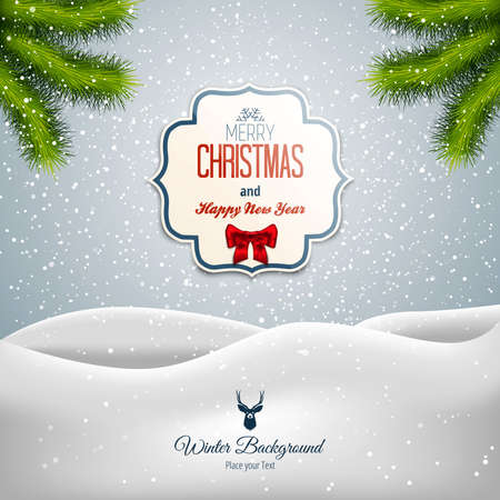 retro christmas: Merry Christmas Landscape. Can be used as holiday greeting cards. Vector