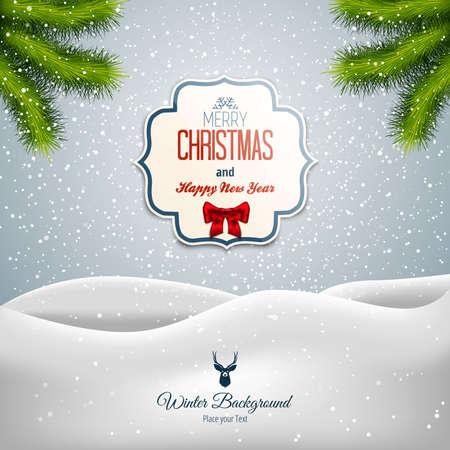 fondo para tarjetas: Paisaje de Navidad feliz. Se puede utilizar como tarjetas de felicitaci�n del d�a de fiesta. Vector