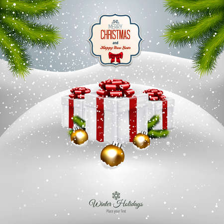 xmas decoration: Christmas background with fir twigs  and gift boxes. Vector Illustration