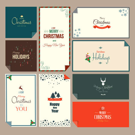 Set of  Christmas and New Year greeting cards. Flat style. Vector