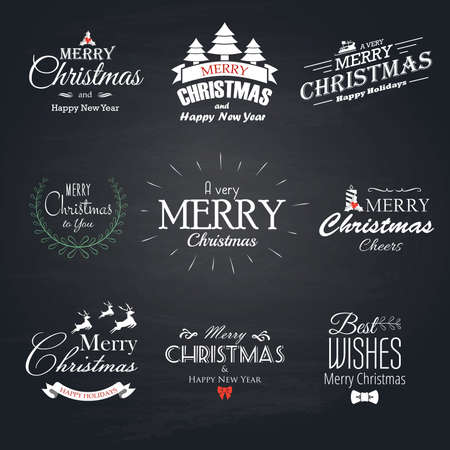 Christmas set labels, emblems and decorative elements - Chalkboard.Vector Vector