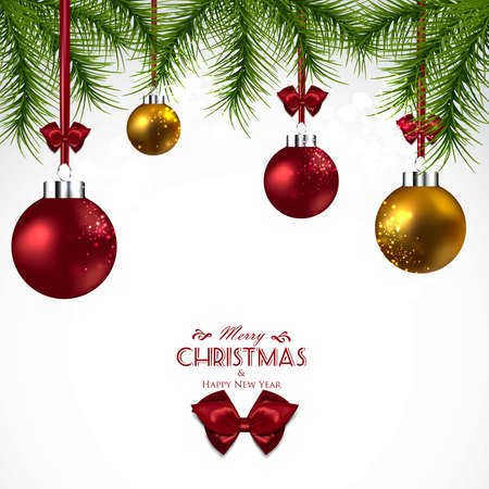twigs: Christmas background with fir twigs and  balls decorations. Vector Illustration