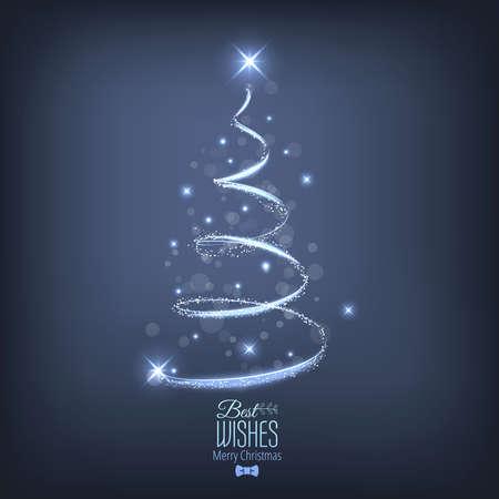 빛에서 추상 크리스마스 트리입니다. 인사말 카드 또는 초대. 벡터 일러스트