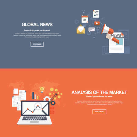 business symbol: Flat designed banners for global news and analysis of the market. Vector
