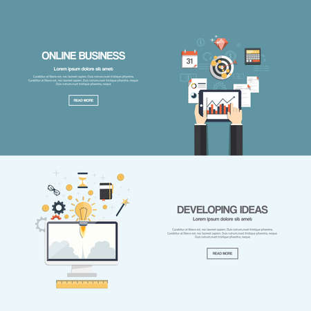 developing: Flat designed banners for online businessl news and developing ideas. Vector