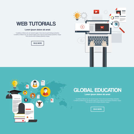 computer education: Flat designed banners for web tutorials and mobile global education. Vector Illustration